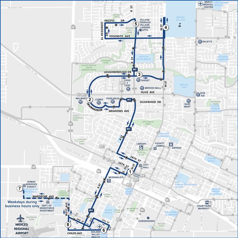 M2 R Street Shuttle Merced Transit Authority Ca