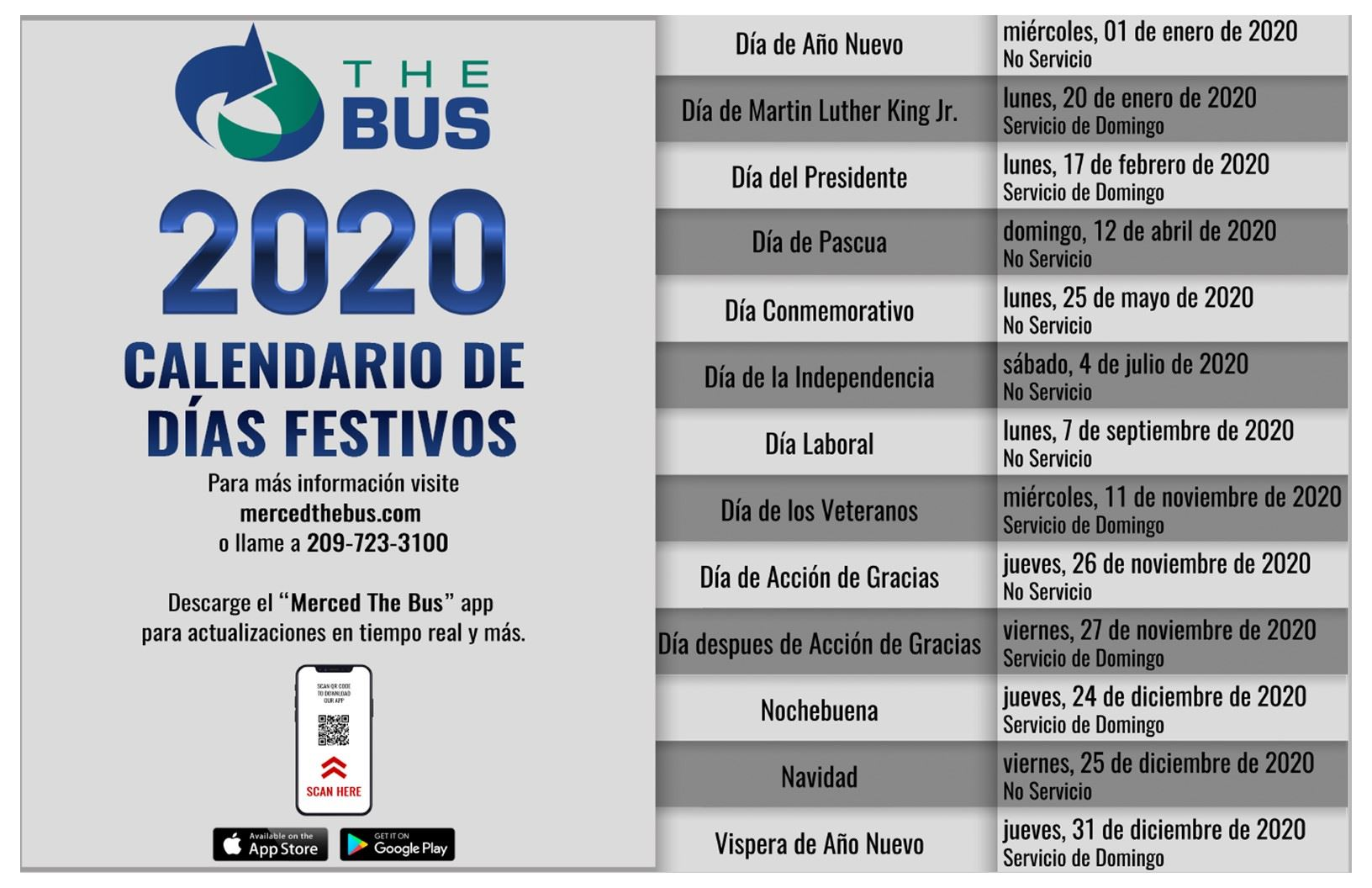 2020 Holiday Schedule_Spanish